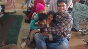 Three of the kids cuddled in my arms