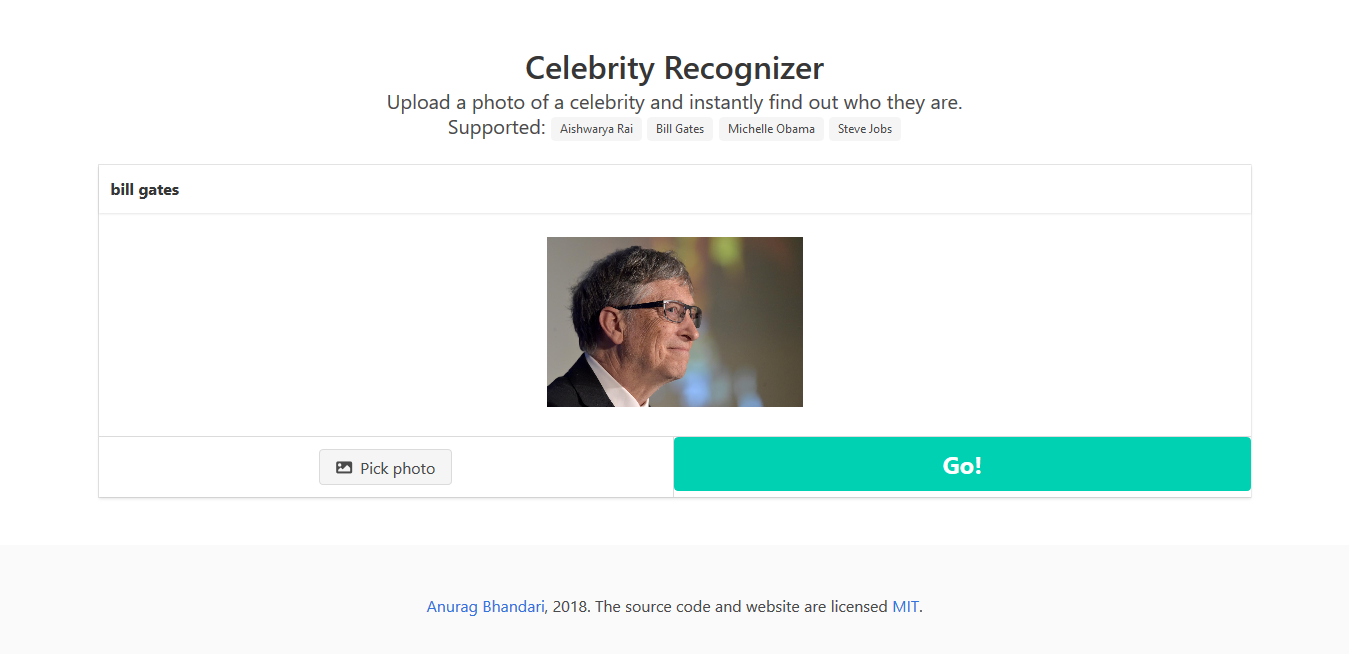 Celebrity Recognizer Website